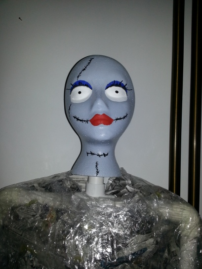 Sally - made from a foam head and craft paints.