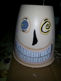 The head for the Mayor from The Nightmare Before Christmas is made from a garbage can squashed a little. Image courtesy of Debbie Morrow. All Rights Reserved.