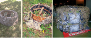From left to right: Original stone-casted well weighing over 40 pounds The same well after about 10 years of elements and lawn mower hits. The newest well on right taking 3 days to make and only 5 pounds. Images courtesy of Debbie Morrow, All Rights Reserved.