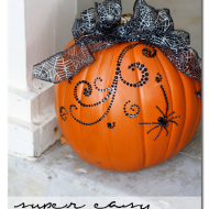 Bling your pumpkin easily with adhesive-backed rhinestones and baubles. Top with a ribbon. Image courtesy of Sugarbeecrafts.com.