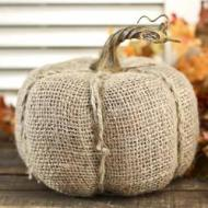 Cover your pumpkin entirely with fabric - such as burlap for a rustic look. Image courtesy of Factorydirectcraft.com