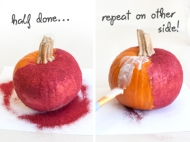 Glitter your pumpkin: A little white glue and glitter turns a regular pumpkin into a sparkling marvel. Image courtesy of Blog.smartyhadaparty.com
