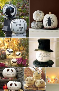 Paint and prop your pumpkin: A little paint and a small prop (such as hat, spiders, etc.) can go a long way. Image courtesy of Blog.thecelebrationshoppe.com