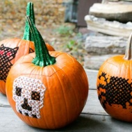 "Embroider your pumpkin: This can work by easily using a metal skewer to make the holes and ""sewing"" away. Image courtesy of Bobvila.com."