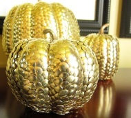 Tack or pin your pumpkin: You'd be surprised at the effect over-lapping thumb tacks can have. To jazz up the design, throw in some ball-end straight pins for color. Image courtesy of Bobvila.com.