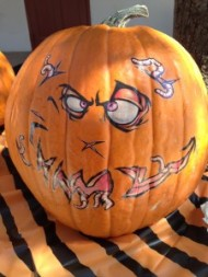 Tattoo your pumpkin: Easily found tattoos during Halloween can be used on pumpkins too. Transform your average pumpkin into a creepy or funny creature. Image courtesy of Blog.tattoosales.com.