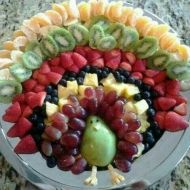 This fruit turkey can be the star of your appetizer spread. image courtesy of Lucky Hua on Pinterest