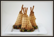 These little teepees can stand alone as a sugar cone dipped in chocolate and topped with pretzels or you can take it a step farther and turn them into upside down cupcakes. Image courtesy of Pinterest and recipe directions can be found at: http://www.realcoake.com/2012/08/sugar-cone-cupcake-baking-easy-way.html