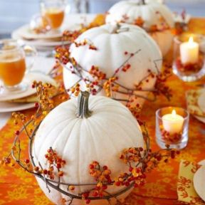 With stores selling foam pumpkins more than 50 percent off, this simple idea of them wrapped with decorative vine can be used as a single, double or multiples. Image courtesy of Momtoob.com