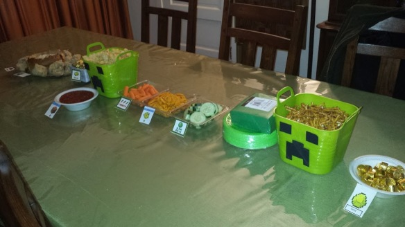 One of the tables for our Minecraft party. Image courtesy of Debbie Morrow, All Rights Reserved.