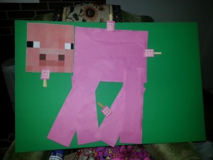 For under $5, a pin-the-tail on the Minecraft pig was born. Image courtesy of Debbie Morrow, All Rights Reserved.