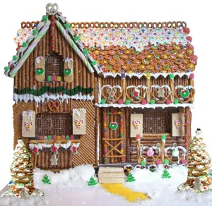 "Pretzels work great for building a ""gingerbread"" house. Image courtesy of The Pretzel Eater's Club."