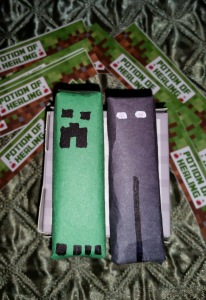 We enlisted our entire family to help with decorations and favors. The Creeper/Endermen were made from gum packs. Image courtesy of Debbie Morrow, All rights reserved.
