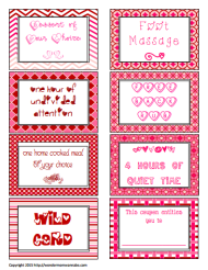 Print, cut, and staple these love coupons together with a nice cover. Tutorial at: http://wondermomwannabe.com/wp-content/uploads/2015/01/Love-Coupons.pdf
