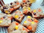 Sallysbakingaddiction.com offers a recipe on Reeses Pieces Blondie Bars.