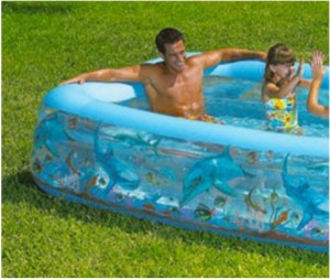 Rectangular kiddie pools have leg room for adults too! Image from ikoala.com.au.